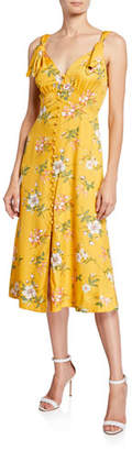 Rebecca Taylor Lita Button-Front Tie Dress