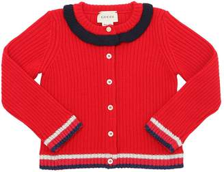 Gucci Wool Rib Knit Cardigan W/ Lurex