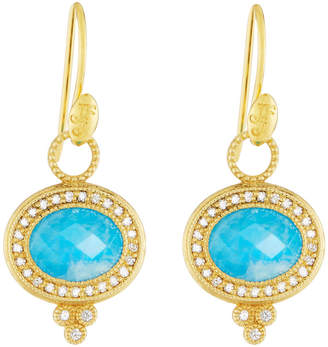 Jude Frances 18K Provence Pavé Oval Dangle & Drop Earrings with Turquoise/Moonstone Doublet