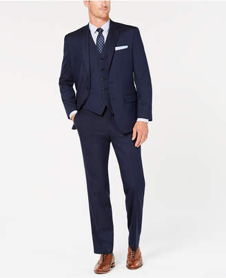 Club Room Men Classic-Fit Stretch Navy Twill Vested Suit