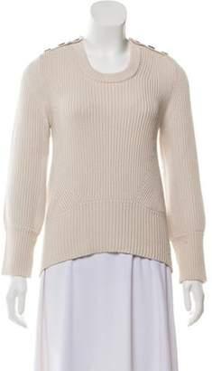 Burberry Rib Knit Scoop Neck Sweater Beige Rib Knit Scoop Neck Sweater