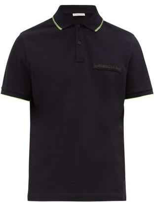 Moncler Logo Plaque Cotton Pique Polo Shirt - Mens - Navy