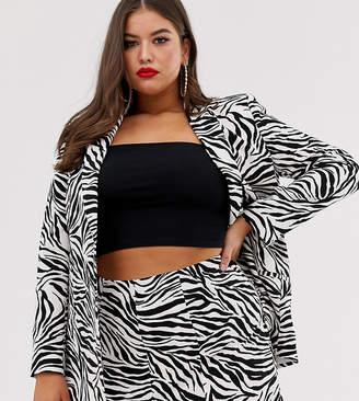 Asos DESIGN curve zebra print suit blazer