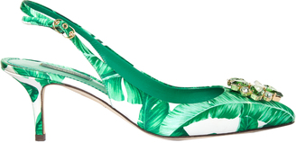 DOLCE & GABBANA Banana-leaf print embellished pumps $690 thestylecure.com