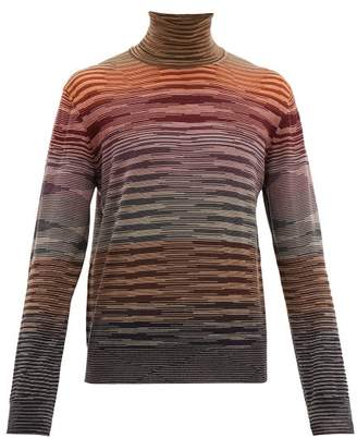 Missoni Roll Neck Space Dyed Wool Sweater - Mens - Red Multi