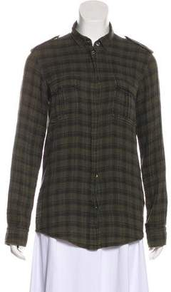 Balmain Plaid Long Sleeve Button-Up