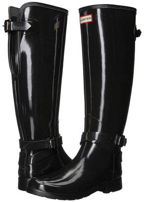 Hunter Refined Back Adjustable Tall w/ Ankle Strap Gloss Women's Boots