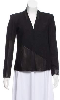Helmut Lang Leather-Trimmed Button-Up Jacket