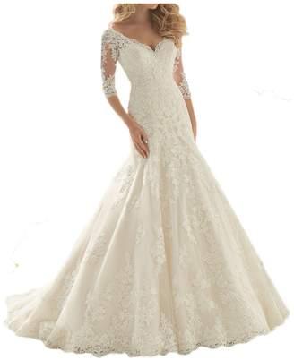 MILANO BRIDE 2017 Wedding Dresses V-neck 1/2 Sleeves Fit&Flare Floral Applique-US size
