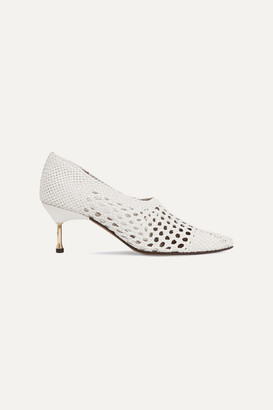 Souliers Martinez - Menorca Woven Leather Pumps - White