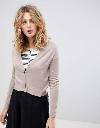 Asos Design Cardigan In Fine Knit With One Button