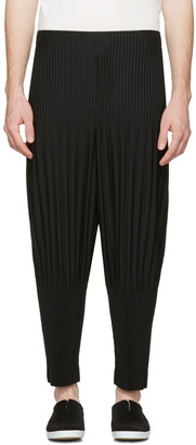 Homme Plissé Issey Miyake Black Two-Type Pleated Trousers $345 thestylecure.com