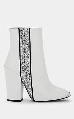 Amiri Women's Glitter-Stripe Leather Ankle Boots - White