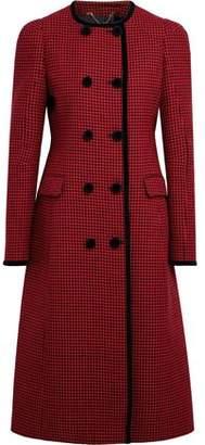 Altuzarra Double-Breasted Velvet-Trimmed Houndstooth Virgin Wool Coat