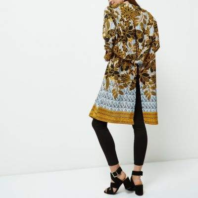 River Island Womens Petite yellow floral print duster coat