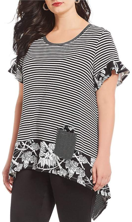 Westbound Plus Size Leaf Stripe Print Short Sleeve Flounce Tunic