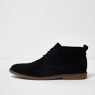 River Island Black wide fit suede desert boots