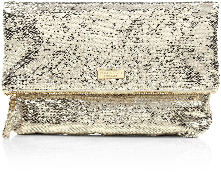 Halston Heritage Silver Sequinned Jenny Clutch
