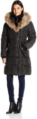 Lush Canada Weather Gear Women's Puffer Coat with Faux Fur Trim