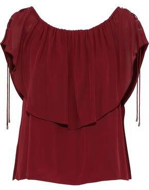 Haute Hippie Off-The-Shoulder Layered Silk Crepe De Chine Blouse