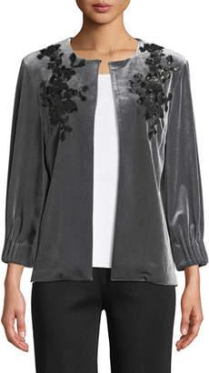 Misook Velvet Floral Applique Jacket