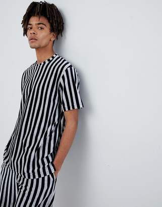 Mennace T-Shirt In Navy Stripe Towelling