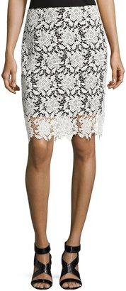 T Tahari Carolina Lace Skirt, Black/White $89 thestylecure.com