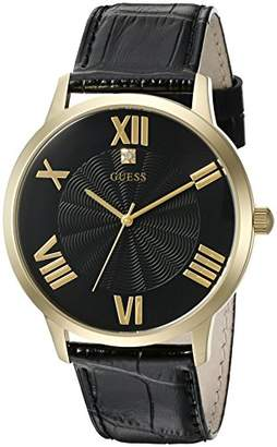 GUESS Men's U0794G1 Dressy Gold-Tone Watch Plain Black Dial and Genuine Leather Strap Buckle