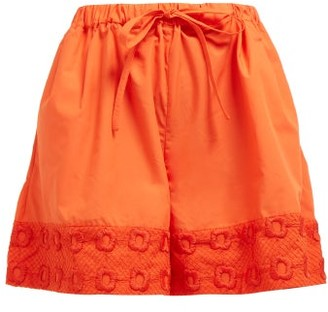 Fendi High Rise Belted Embroidered Cotton Shorts - Womens - Orange