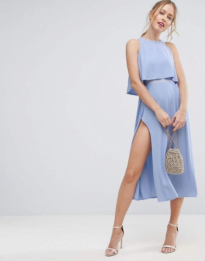 AsosASOS Crop Top Thigh Split Midi Dress