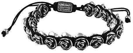 King Baby Studio Women's Alloy Roses Black Macrame Bracelet