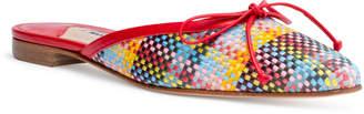 Manolo Blahnik Ballerimu 10 Red Multicolor Plaid Mule Flats