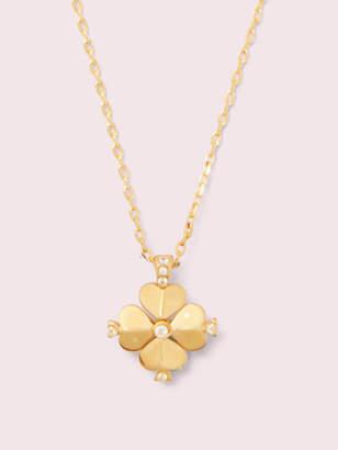 Kate Spade Legacy Logo Spade Flower Mini Pendant, Clear/Gold