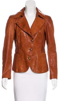Joseph Leather Pointed-Collar Jacket