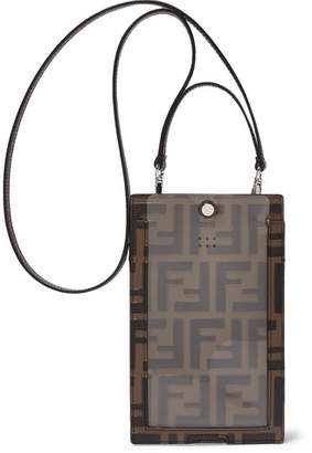 Fendi Logo-Debossed Leather iPhone X Lanyard Case - Men - Brown