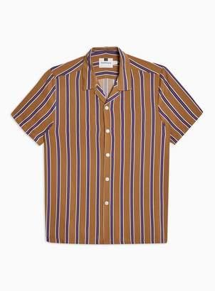 Topman Mens Yellow Purple and Mustard Stripe Revere Shirt