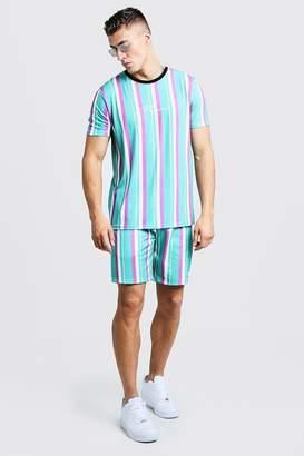 boohoo MAN Signature Stripe T-Shirt & Short Set