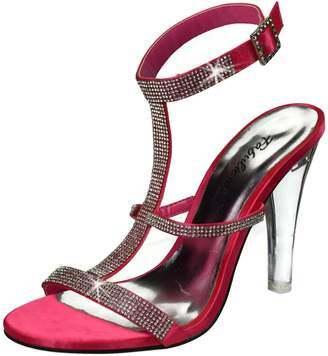 """FABULICIOUS CLEARLY-418 Women's 4 1/2"""" Heel,Tri-Band T-Strap Sling Back Sandal, Color:, Size:9"""