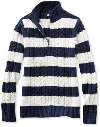 L.L. Bean L.L.Bean Double L Mixed Cable Sweater, Zip-Front Cardigan Stripe
