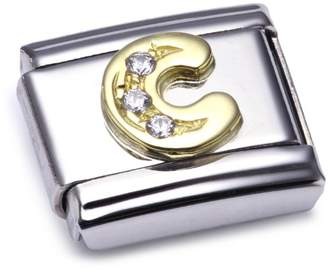 Nomination Composable Classic J Letter Stainless Steel, K Gold and Cubic Zirconium