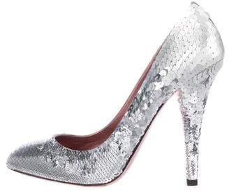 Miu Miu Sequins Round-Toe Pumps