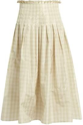 Valentino Pleated silk-taffeta gingham midi skirt