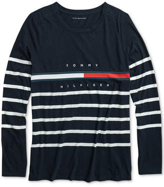 Tommy Hilfiger Adaptive Women Tina Saint James Striped Tee with Velcro at Shoulders