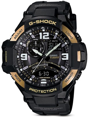 G-Shock Black & Gold-Tone Gravitymaster Watch, 50.8mm $250 thestylecure.com