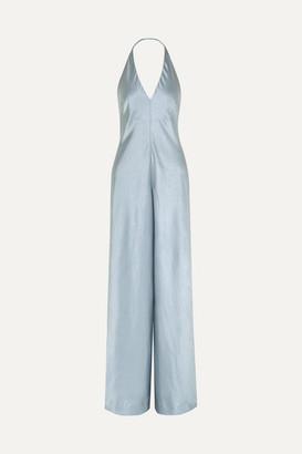 Alexander Wang Halterneck Crinkled-satin Wide-leg Jumpsuit - Light blue