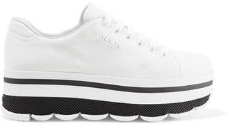 Prada Logo-embellished Leather Platform Sneakers - White