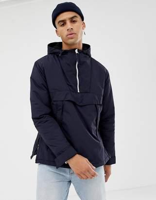Bershka Hooded Jacket In Navy With Half Zip And Side Zips