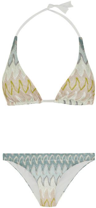 Missoni Crochet-knit halterneck bikini