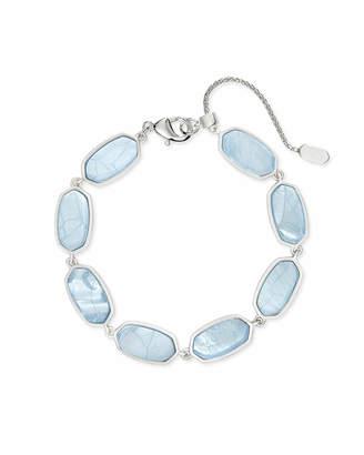 Kendra Scott Millie Bright Silver Link Bracelet in Sky Blue Illusion