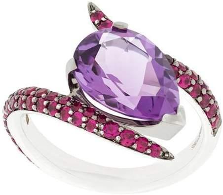 Aurora amethyst and rubies ring